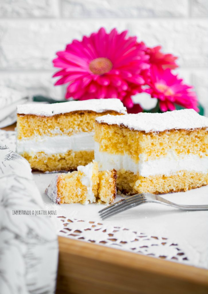 torta paradiso con crema al latte simil kinder