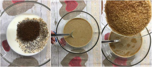 preparazione del plumcake al caffè senza uova e senza burro