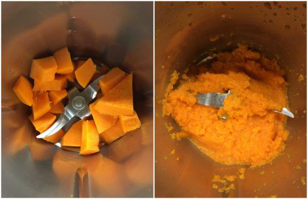 preparazione dei cupcakes alla zucca con le noci, ideali per le feste di halloween