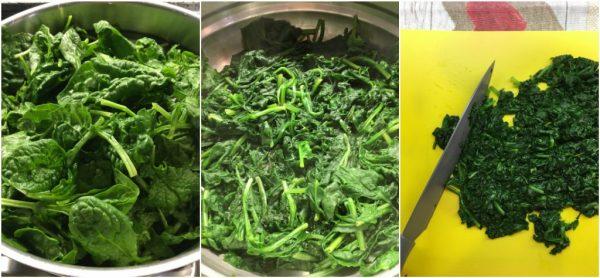 preparazione della frittata di spinaci al forno, cottura spinaci a vapore