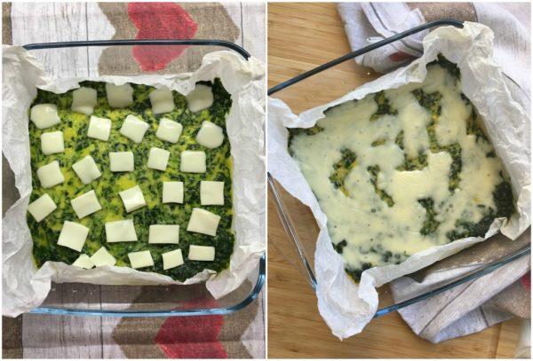 preparazione della frittata di spinaci al forno con sottilette