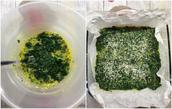 preparazione frittata di spinaci al forno