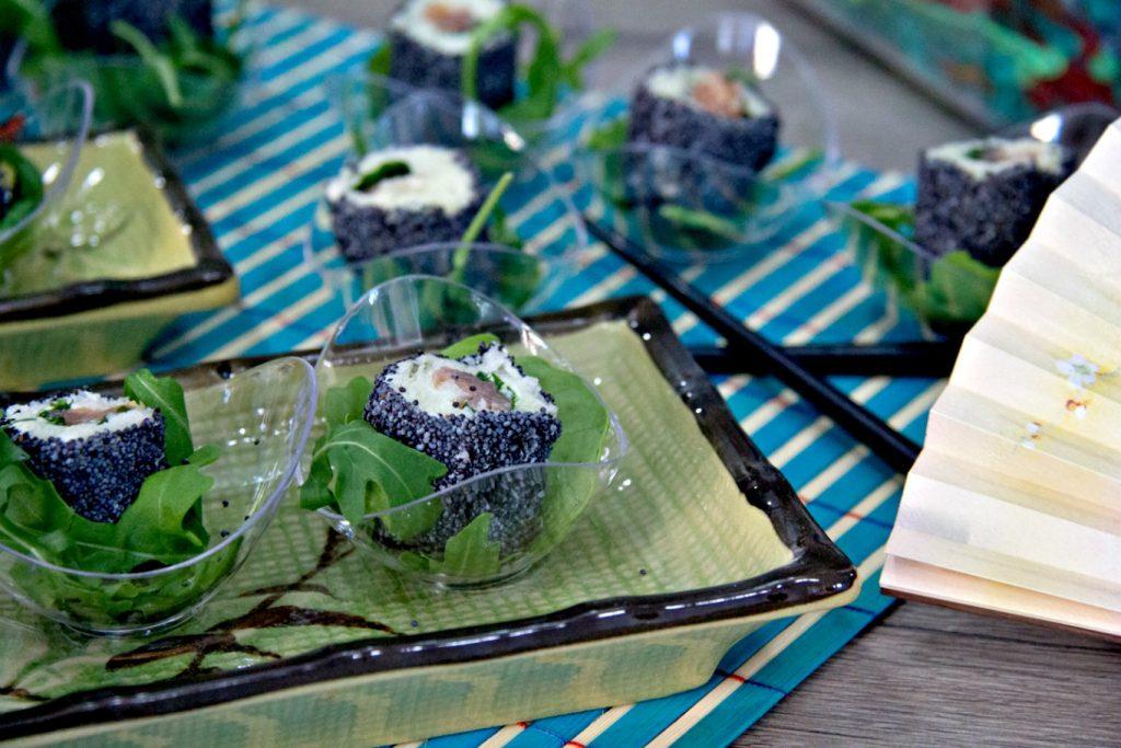 finto sushi di pancarrè preparato per lo shoowcooking allo Scsvolini Store di Cosenza Rende
