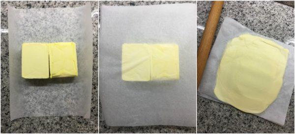 preparazione croissant sfogliati, preparazione del burro per la laminatura