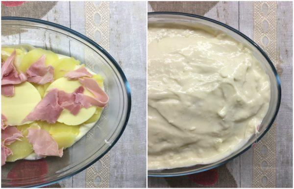 preparazione dello sformato di patate e besciamella