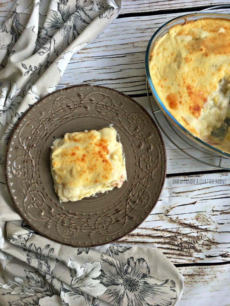sformato di patate e besciamella con prosciutto cotto