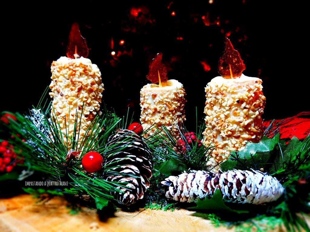 candele di pasta frolla con crema al cioccolato bianco, centrotavola o segnaposto natalizio