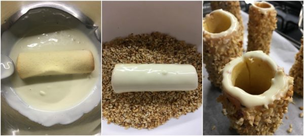 preparazione candele di pasta frolla con cioccolato bianco, crema, granella di nocciole