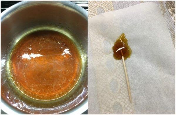 preparazione fiammelle al caramello per le candele di pasta frolla