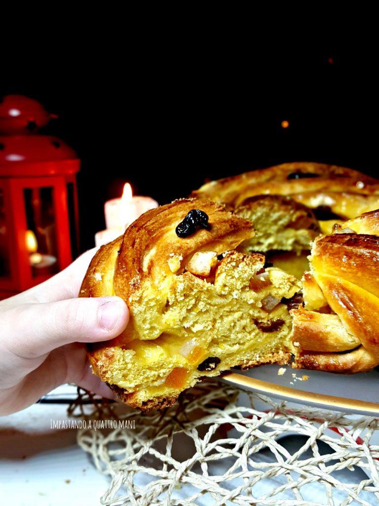 torta angelica con lievito madre, canditi e uvetta
