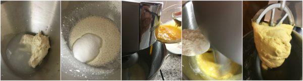 preparazione del panettone al pistacchio e cioccolato bianco, primo impasto
