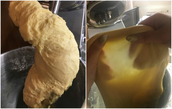 preparazione del panettone al pistacchio e cioccolato bianco, con lievito madre, priva del velo
