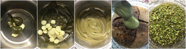 preparazione del panettone al pistacchio e cioccolato bianco a lievitazione naturale, copertura pistacchio e cioccolato bianco