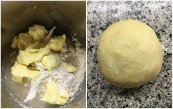 preparazione della torta salata di pasta brisé con salsiccia e broccoli