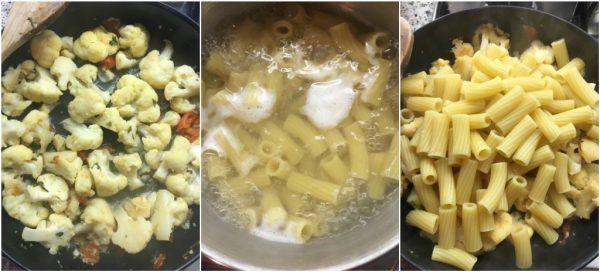 preparazione della pasta con il cavolfiore, un primo piatto sano e leggero