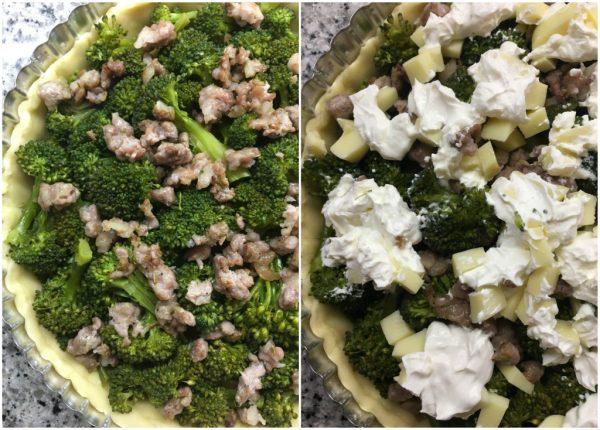 torta salata di brisé con salsiccia e broccoli, mascarpone e provola
