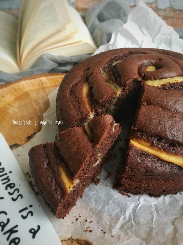 sofficissima torta girella al cacao con crema pasticcera