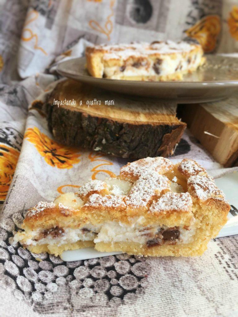 crostata con crema di ricotta e cioccolato, pasta frolla