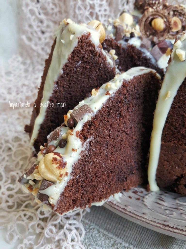 fluffosa, chiffon cake cacao, ganache al cioccolato bianco
