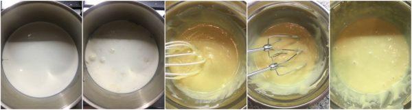 preparazione ganache al cioccolato bianco, fluffosa al cacao