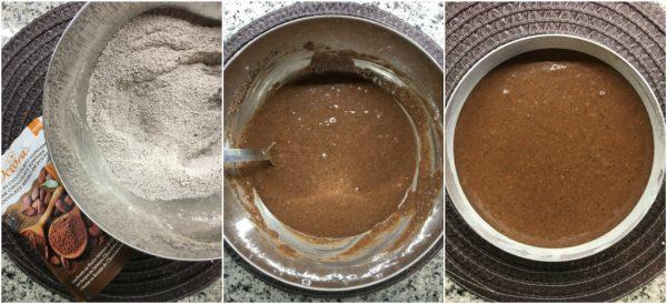 preparazione torta matta o crazy cake, con cacao e cocco