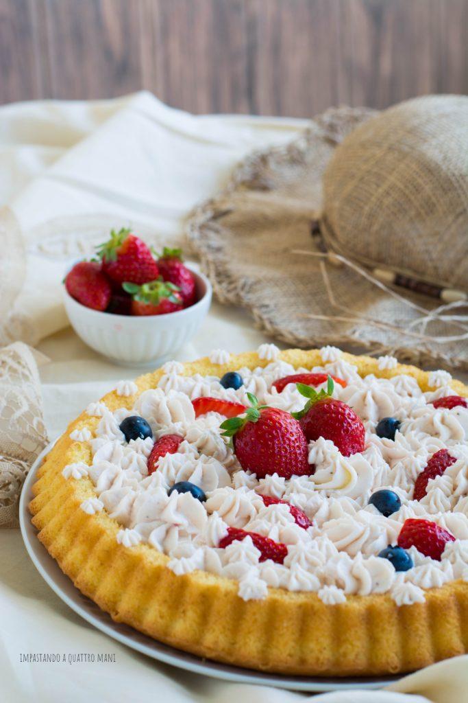 crostata morbida con camy cream alle fragole, la crema al mascarpone senza uova