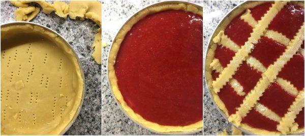 preparazione crostata con ricotta e salsa di fragole