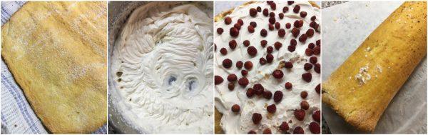 preparazione rotolo farcito con cheese cream e fragoline di bosco