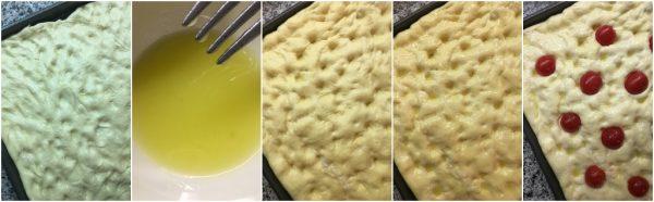 preparazione focaccia con farina di semola rimacinata e pomodorini