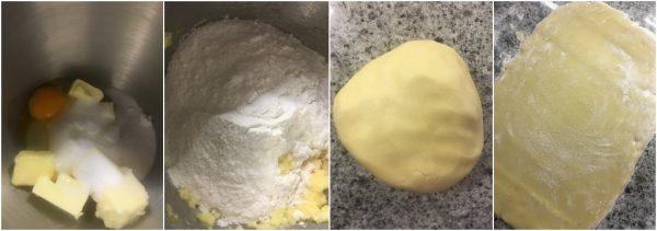 preparazione pasta frolla per biscotti ai fichi freschi e frutta secca