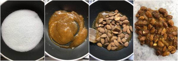 preparazione pavlova alla cannella con sciroppo d'acero, pralinato alle mandorle e frutta fresca