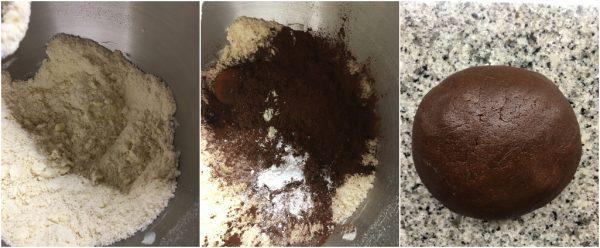 preparazione sbriciolata al cacao con camy cream alla ricotta e amarene