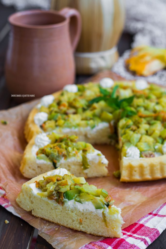 crostata morbida salata con zucchine e fiori di zucca