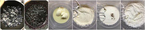 preparazione gelato al mascarpone con pistacchi variegato ai mirtilli, senza gelatiera