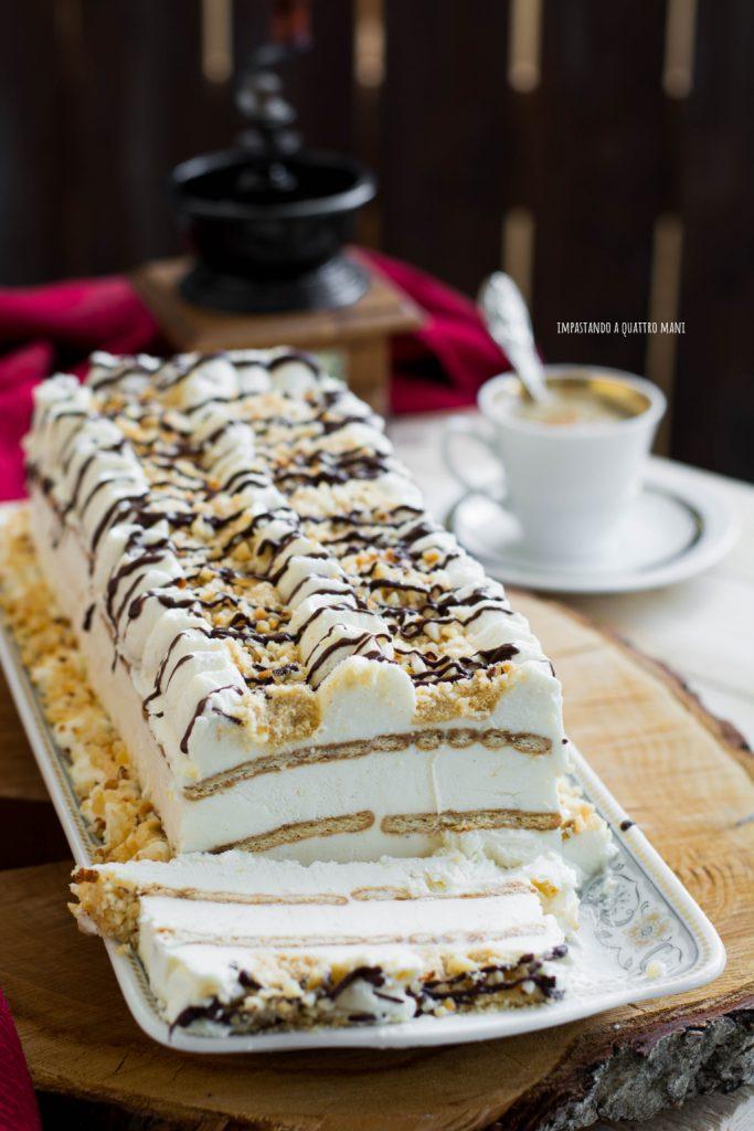 tronchetto gelato al mascarpone e caffè senza gelatiera veloce