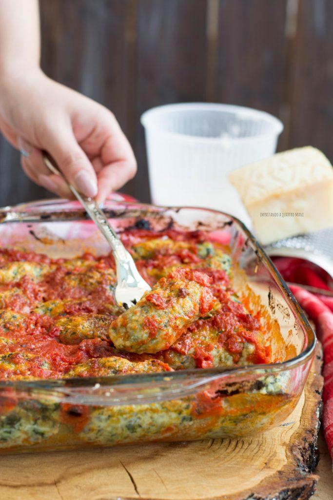 gnudi di ricotta e spinaci gratinati al forno