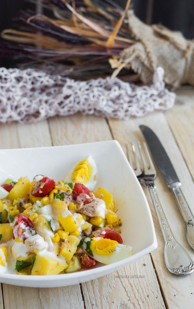 insalata di patate ricca, piatto unico
