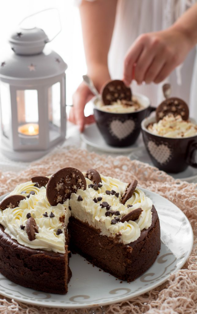 new york cheesecake al cioccolato e pan di stelle con frosting al mascarpone
